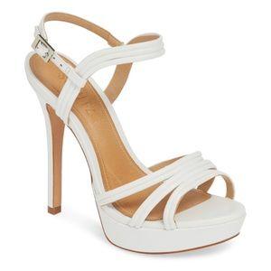 Schutz Bogga Platform Sandal white leather size 6